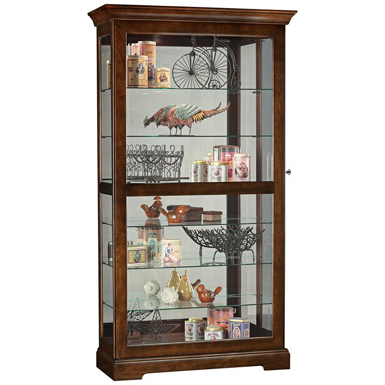 "Howard Miller 78 1/4"" Tyler Cherry Bordeaux Curio Cabinet"