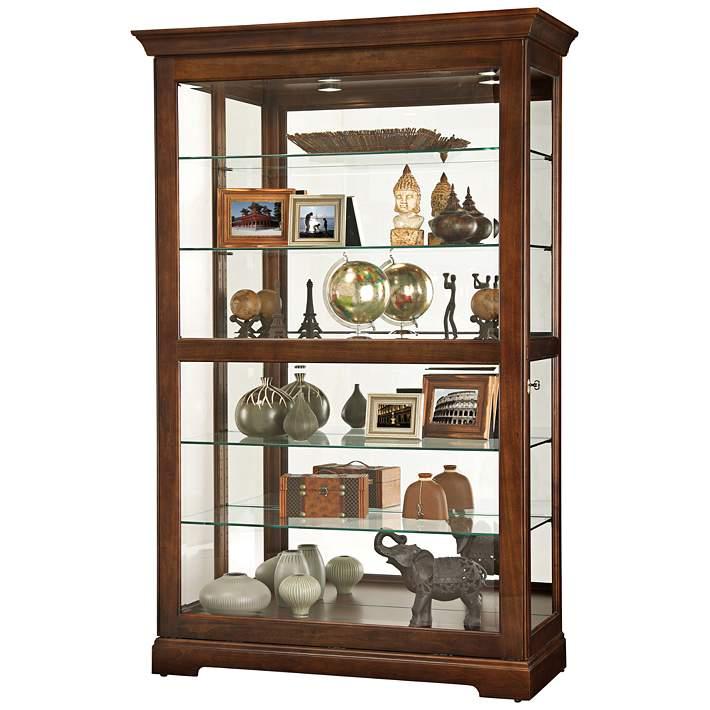 Howard Miller 80 Kane Cherry Bordeaux 1 Door Curio Cabinet