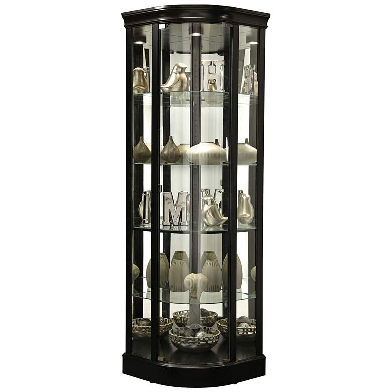 "Marlowe 78 1/2"" High Black Satin Curio Cabinet with Lights"