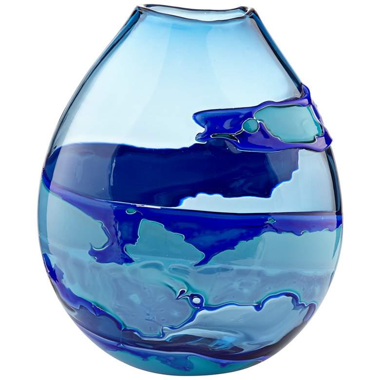 "Water Blue 13"" High Striped Blown Glass Modern Vase"