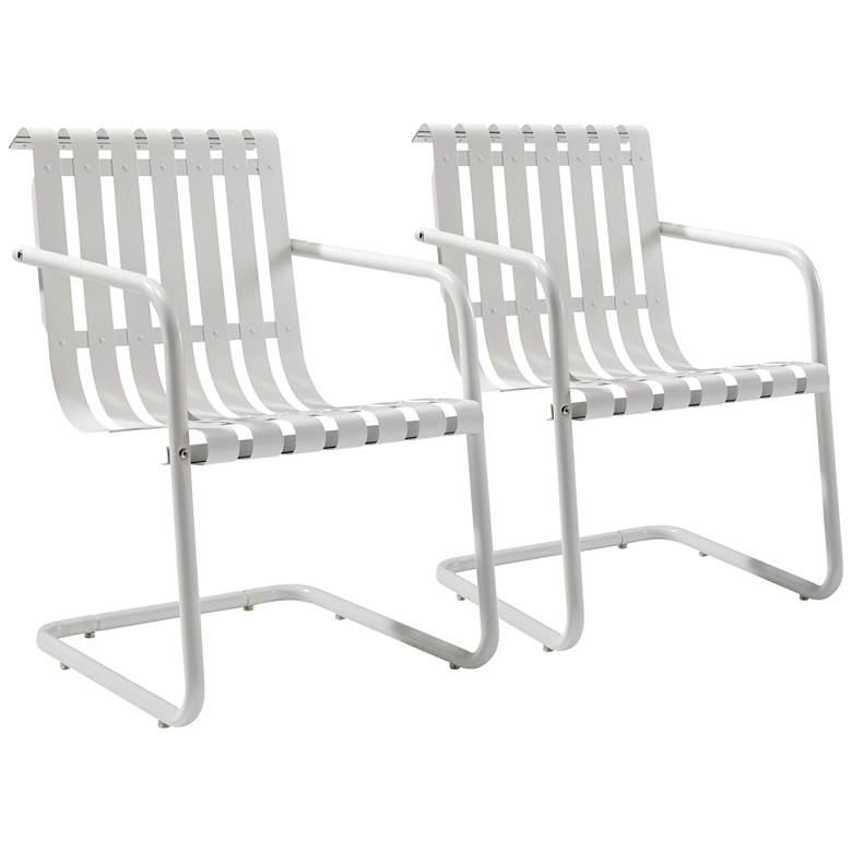 Gracie White Steel Indoor-Outdoor Armchair Set of 2