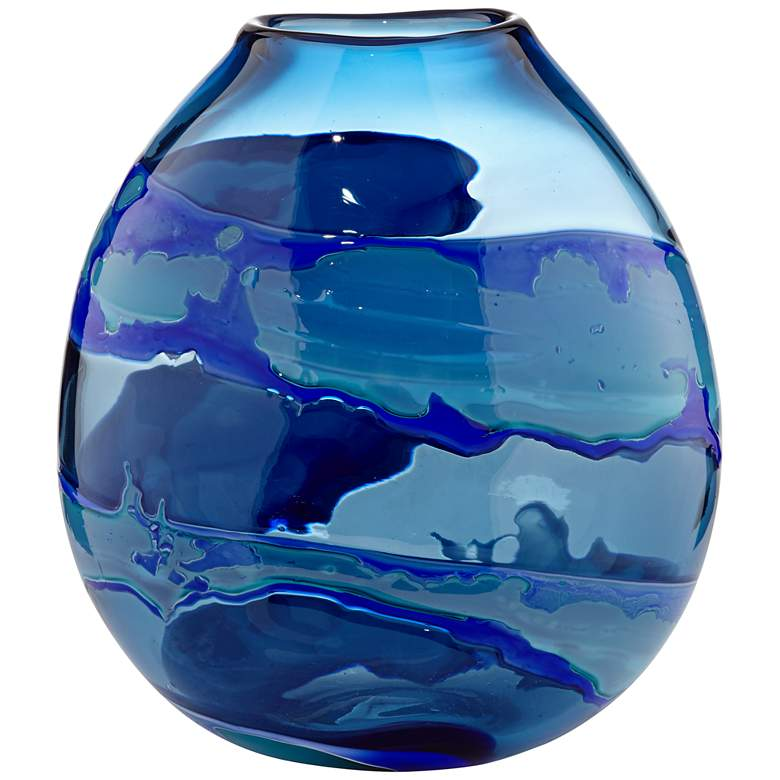 "Water Blue 11"" High Striped Blown Glass Modern Vase"