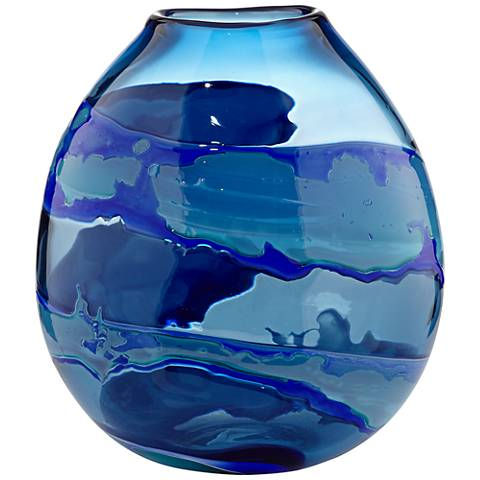 "Water Blue Striped 11"" High Glassblown Vase"