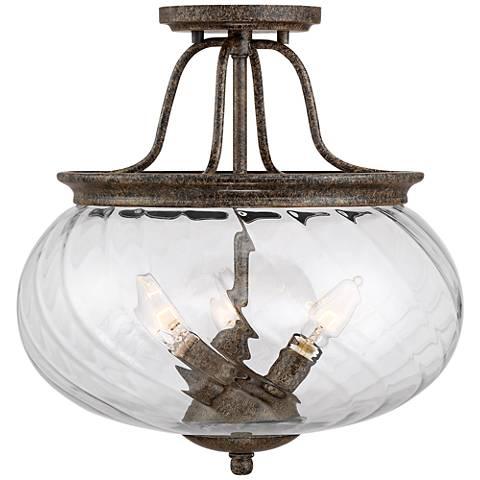 """League 14 1/4"""" Wide Bronze 3-Light Ceiling Light"""
