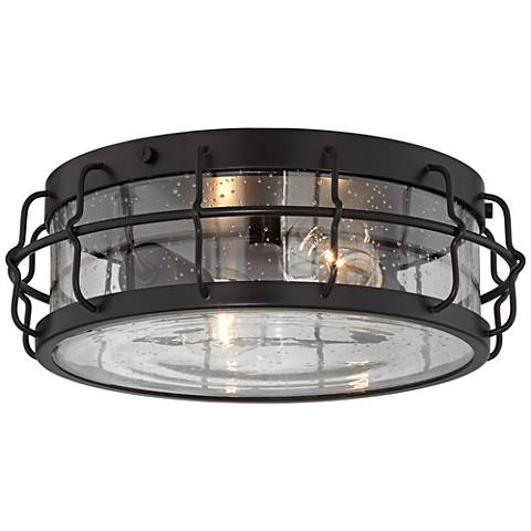 "Aya 13 1/4"" Wide Bronze Caged Metal Ceiling Light"