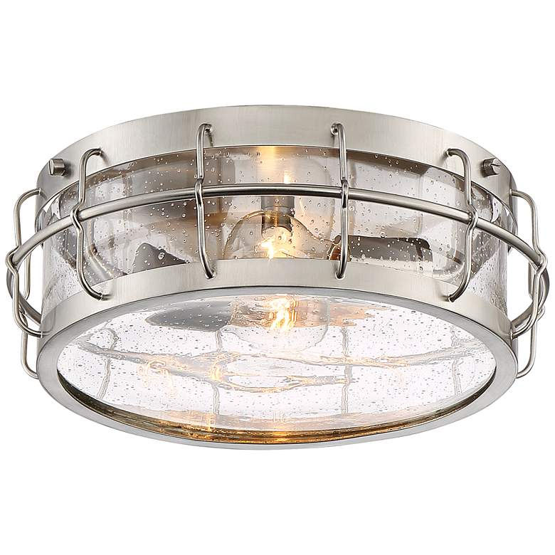 "Aya 13 1/4"" Wide Satin Nickel Caged Metal Ceiling Light"