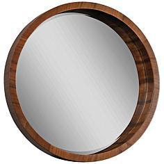 "Brybjar Walnut Veneer 33"" Round Wall Mirror"
