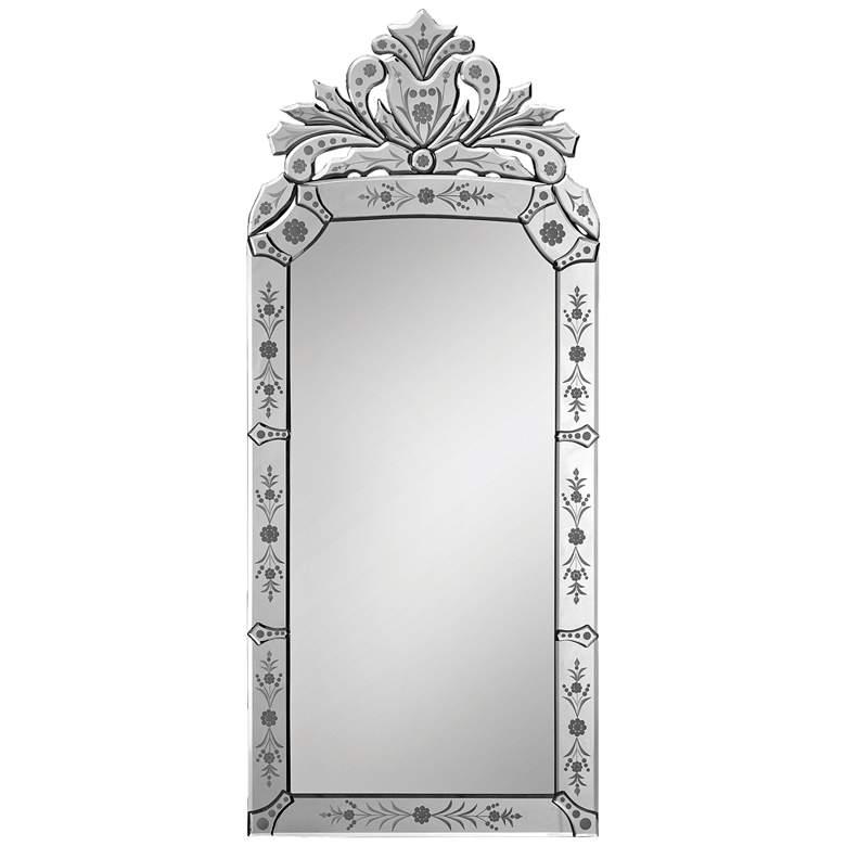 "Venetian Glass 19"" x 43"" Crown-Shape Wall Mirror"