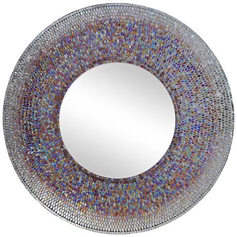 """Seychelle Smokey Mosaic 40"""" Round Wall Mirror"""