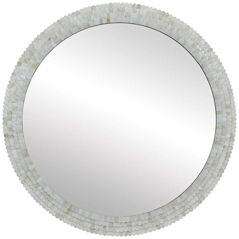 """Inca Cream Protrude 36"""" Round Wall Mirror"""