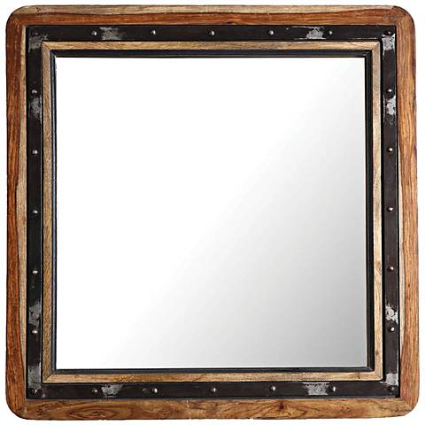 "Oxley Natural Wood and Back 30"" Square Wall Mirror"