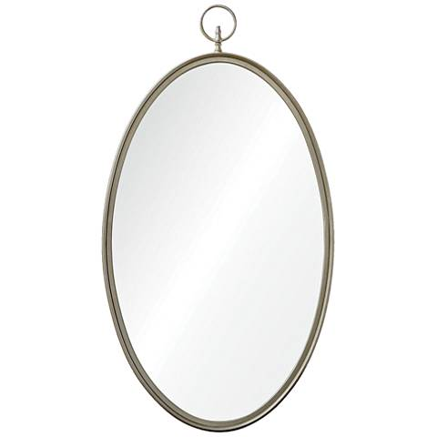 """Port Jackson Antique Silver 22"""" x 40"""" Oval Wall Mirror"""