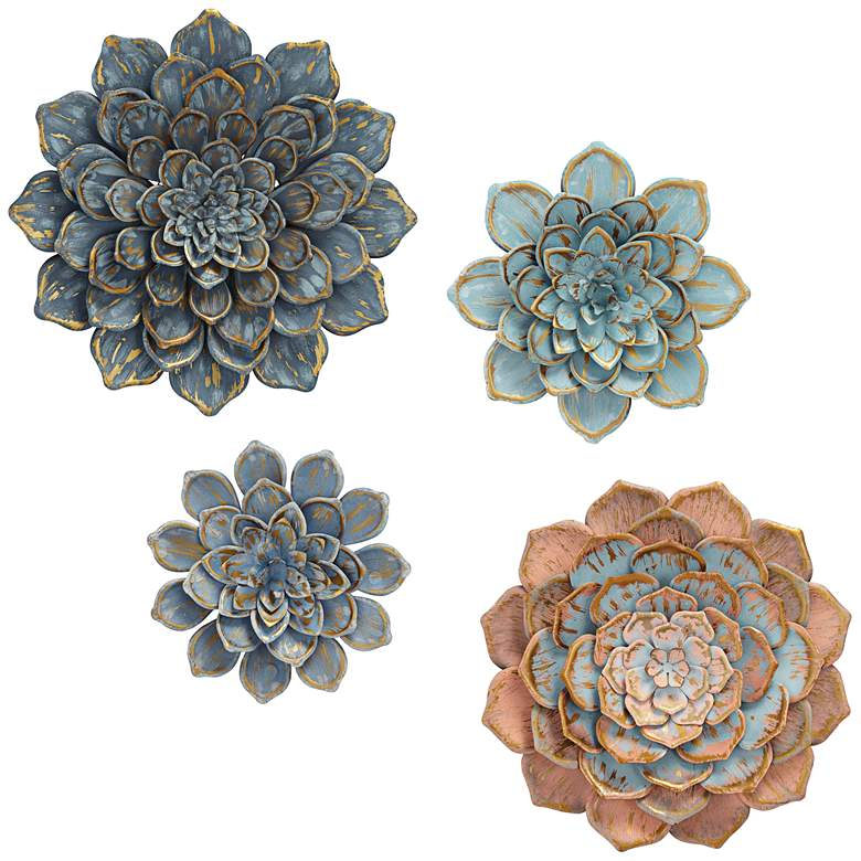 "Blue Succulents 24"" Round 4-Piece Wall Art"
