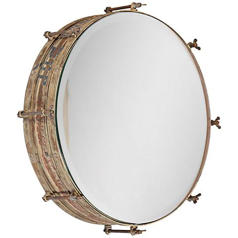"Wosley Weathered 19"" Round Wall Mirror"