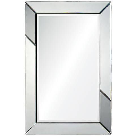 "Rumba Silver and Gray 24"" x 36"" Rectangular Wall Mirror"