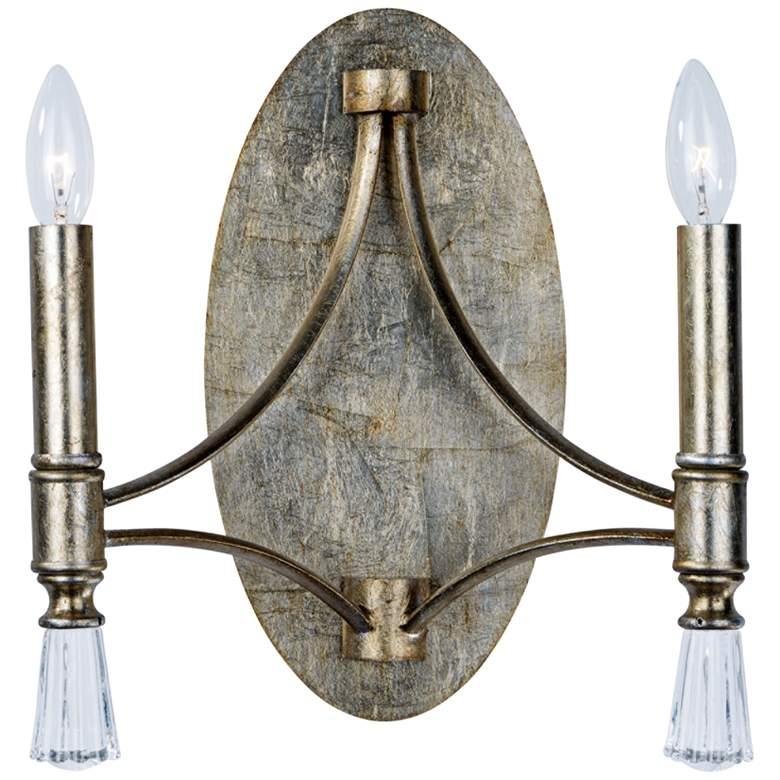 "Maxim Regal 13"" High Silver Gold 2-Light Wall Sconce"