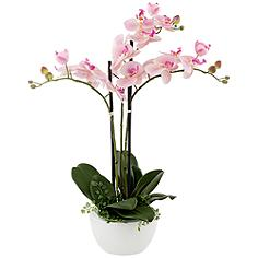 """Real Touch Pink Orchid 22"""" High Faux Flowers in White Pot"""