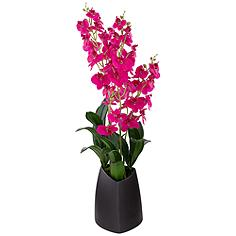 "Real Touch Pink Orchid 26"" High Faux Flowers in Black Pot"