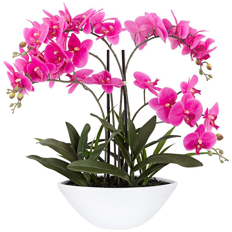 "Real Touch Pink Orchid 28"" High Faux Flowers in White Pot"