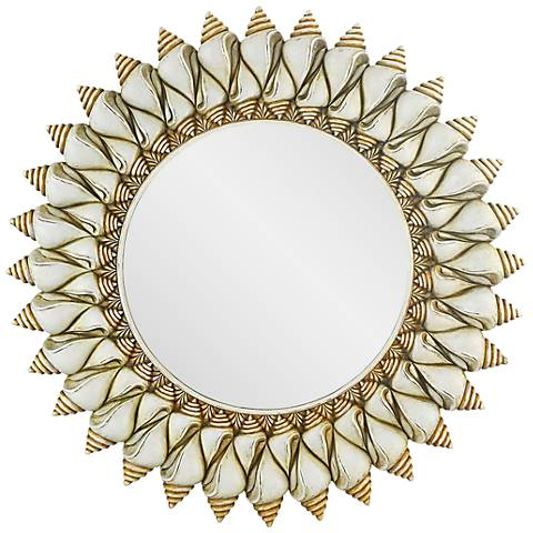 """Conch Shell Antique 24"""" Round Wall Mirror"""