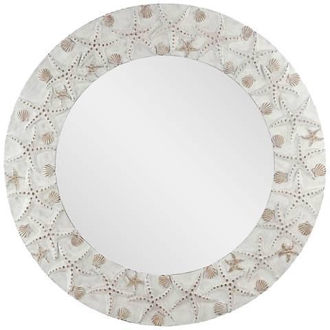 "Starfish Washed Antique 30"" Round Wall Mirror"