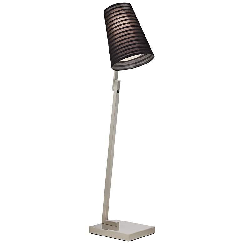 """24D25  61.5"""" Brushed Nickel Floor Lamp W/Black Organza Shade"""