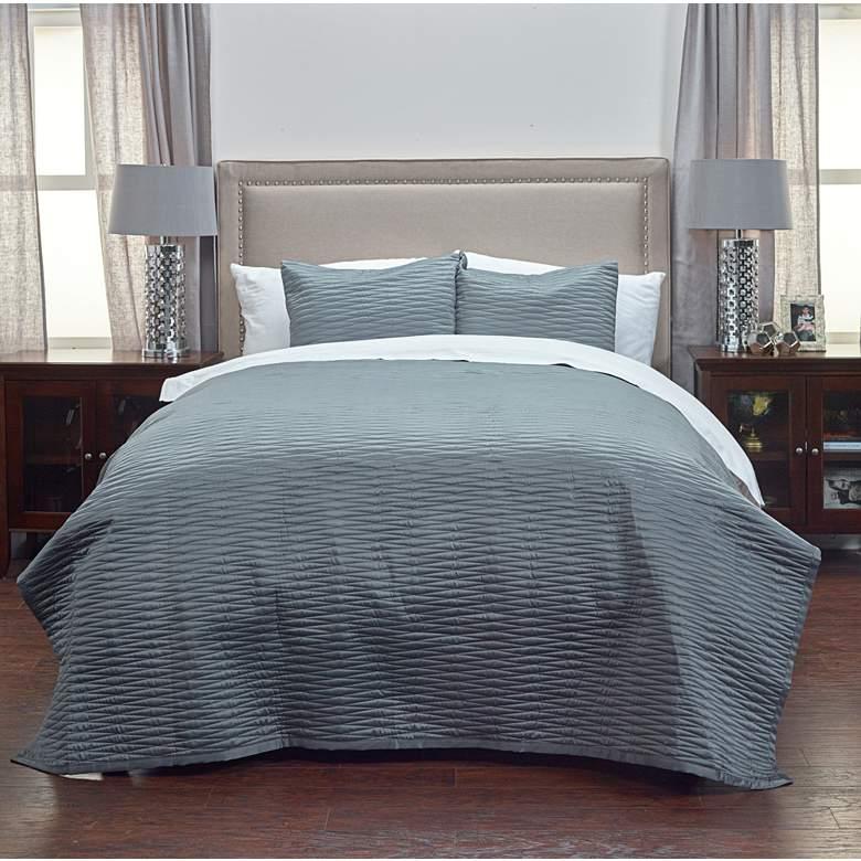 Parker Gray Fabric Queen Quilt Set