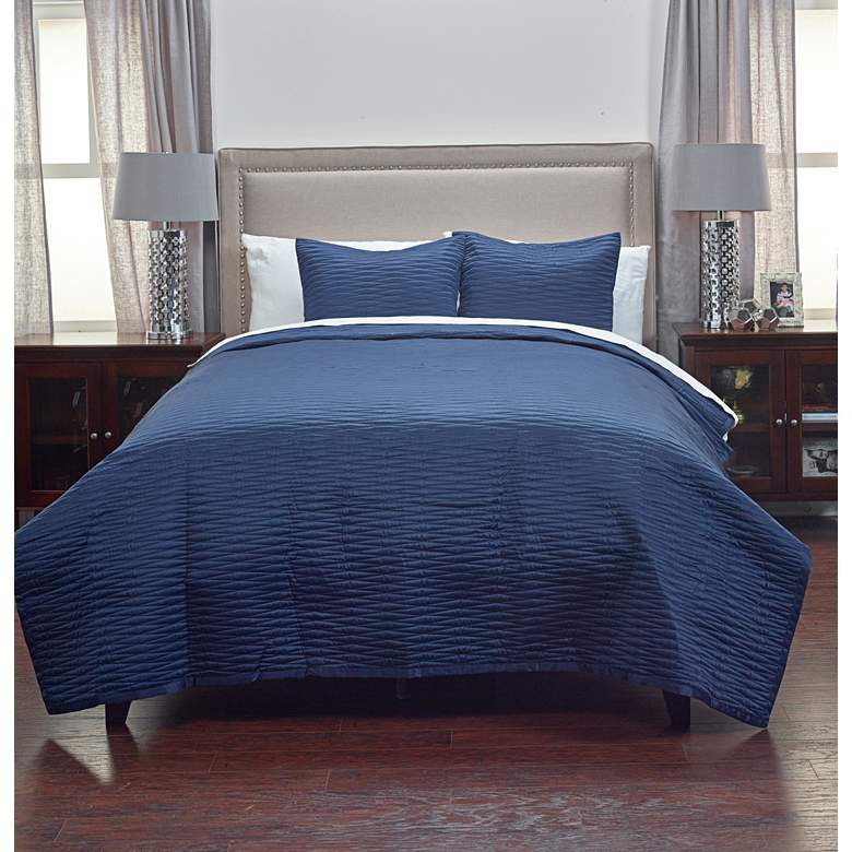 Parker Navy Fabric Queen Quilt Set