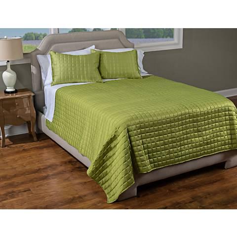 Satinology Apple Green Fabric Quilt Set