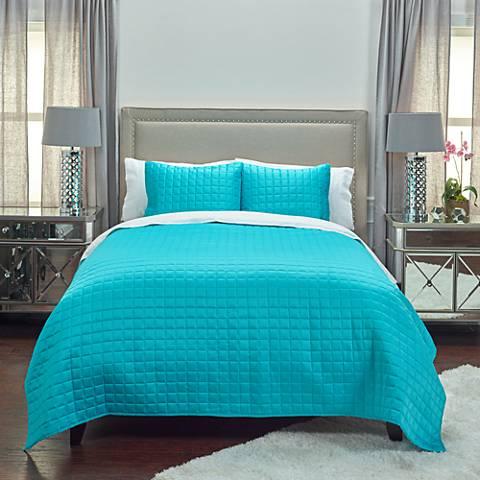 Satinology Aqua Blue Fabric Quilt Set