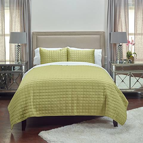 Satinology Lime Fabric Quilt Set