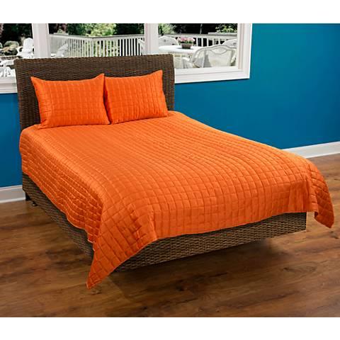 Satinology Orange Fabric Quilt Set