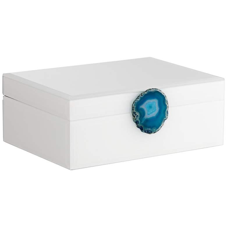 """Carillon White-Turquoise Agate 9 1/2"""" Wide Decorative Box"""