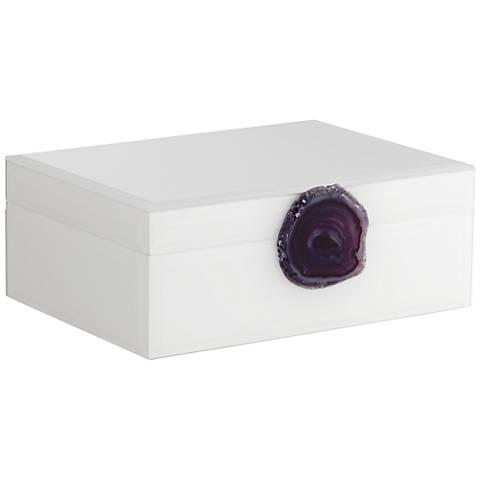 """Carillon White and Purple Agate 9 1/2"""" Wide Decorative Box"""