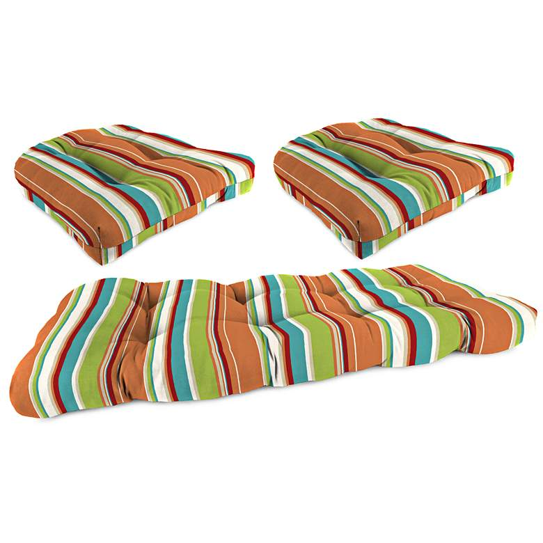 Pompei Covert Breeze Outdoor Wicker Seat Cushion Set of 3