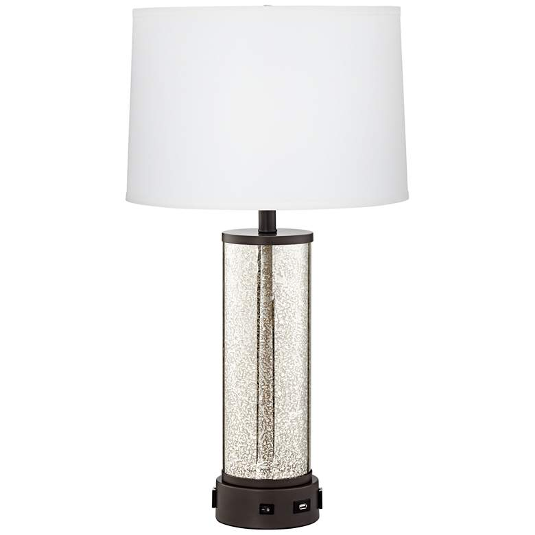 24E89 - Gun Metal Table Lamp w/ 2-Outlets and USB Port