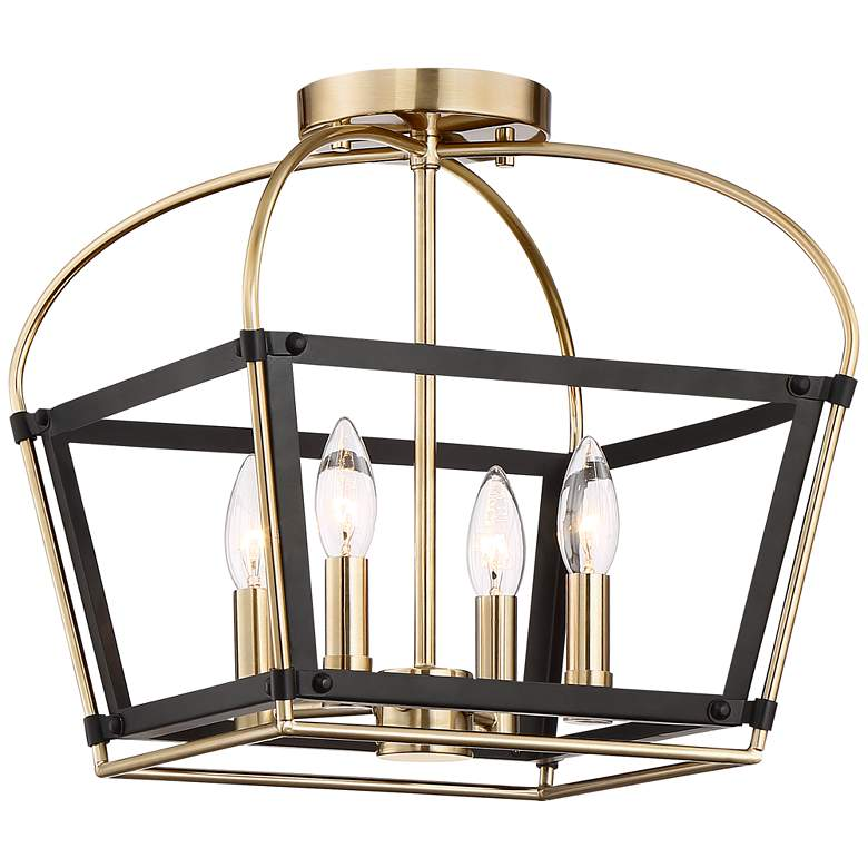 "Cranford 13"" Wide Warm Brass and Black 4-Light Ceiling Light"