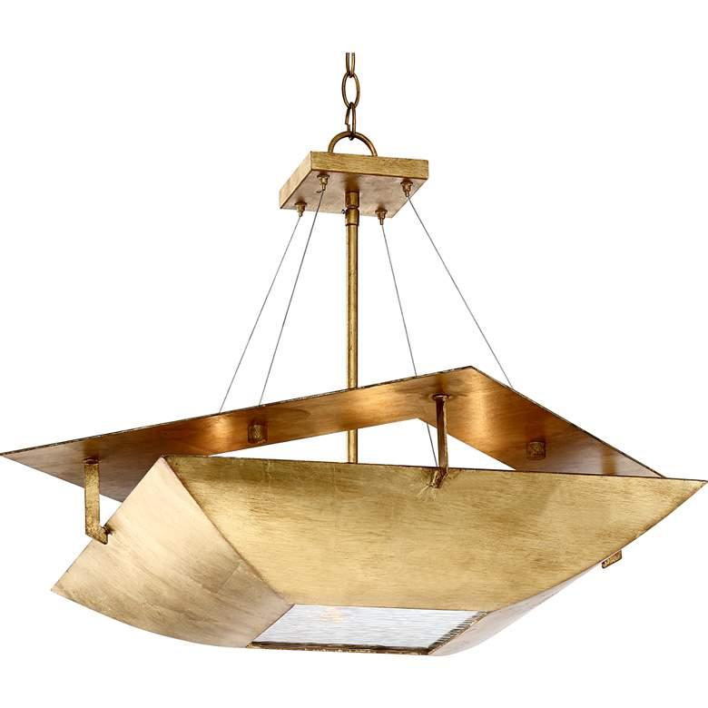 """Squared Up 28 1/4"""" Wide Gold Leaf 4-Light Chandelier"""