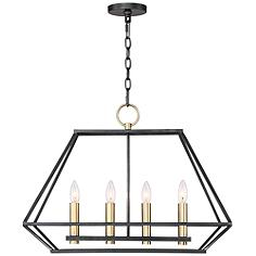 "Ivon 25"" Wide Warm Gold and Metal 4-Light Pendant"