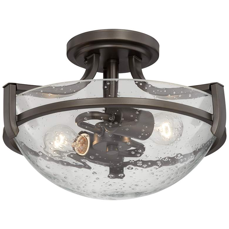 """Mallot 13"""" Wide Bronze and Clear Seedy Glass Ceiling Light"""