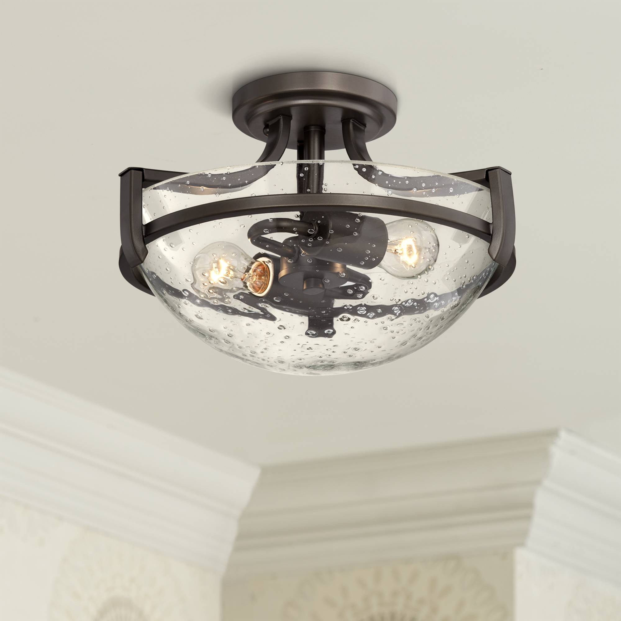 Details About Ceiling Light Semi Flush Mount Fixture Bronze Seedy Gl 13 Bedroom Kitchen