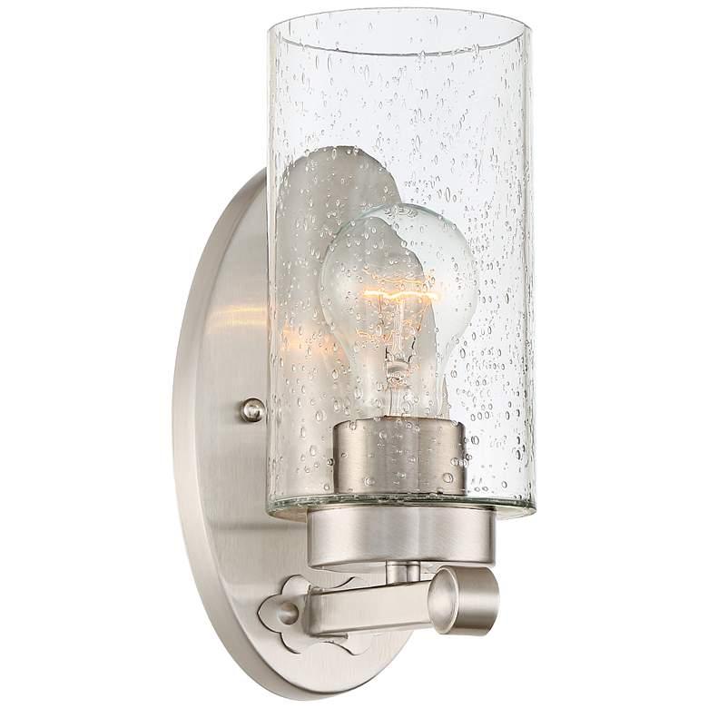 "Holman 9 3/4"" High Seedy Glass Brushed Nickel Wall Sconce"