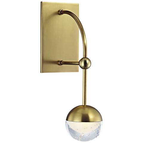 "Hudson Valley Boca 13 1/4"" High Aged Brass LED Wall Sconce"