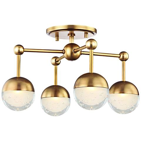 "Hudson Valley Boca 15 3/4""W Aged Brass 4-LED Ceiling Light"