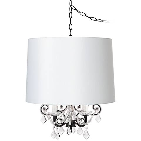 Leila Black Designer White Shade Plug-In Swag Chandelier