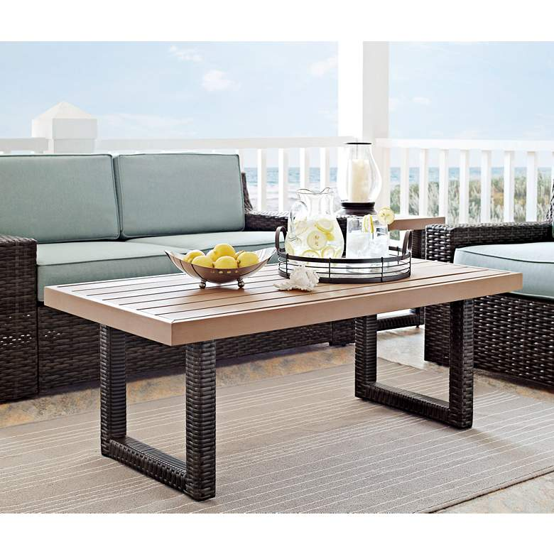Beaufort Faux Wood and Brown Wicker Outdoor Coffee Table