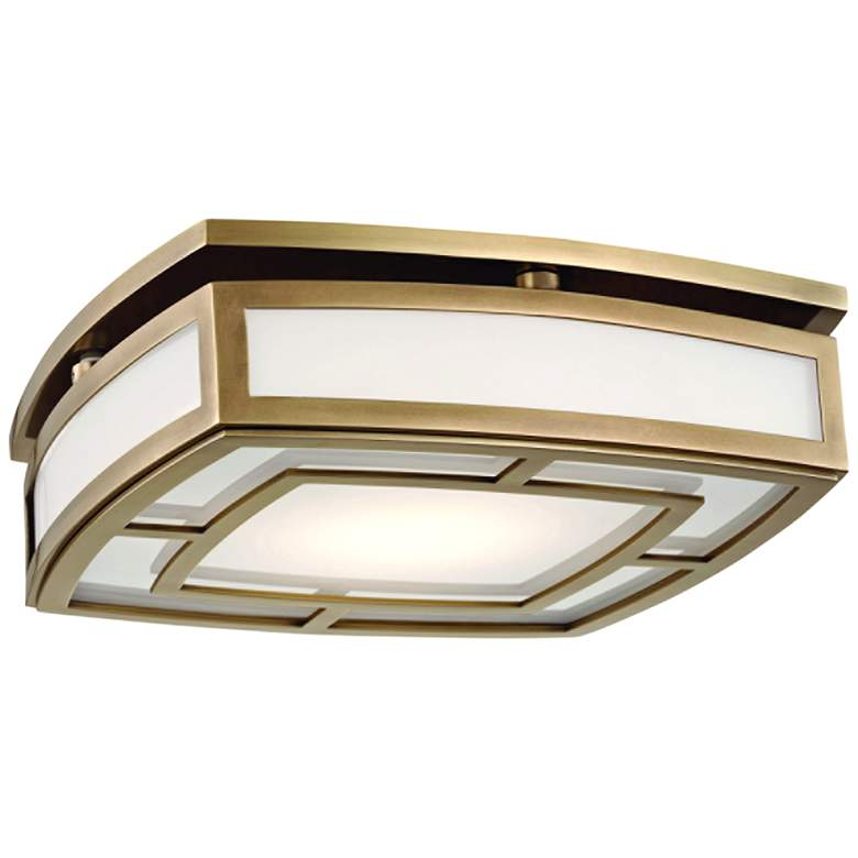 "Hudson Valley Elmore 12 3/4""W Aged Brass LED Ceiling Light"