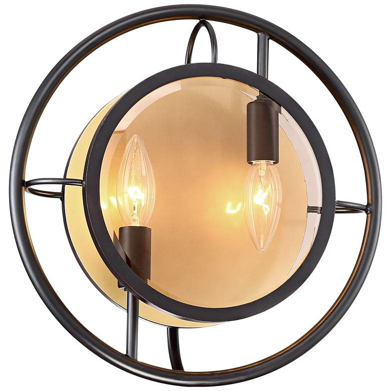 """Kristos 12"""" High Oil Rubbed Bronze Round Sconce"""