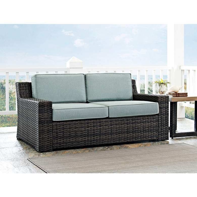 Beaufort Mist Light Blue and Brown Wicker Outdoor