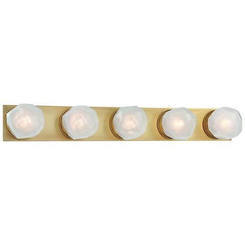 "Hudson Valley Nimbus 30 1/4""W Aged Brass 5-LED Bath Light"